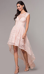 Image of high-low lace scoop-neck prom dress. Style: LP-27502 Detail Image 4