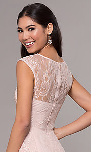 Image of high-low lace scoop-neck prom dress. Style: LP-27502 Detail Image 7