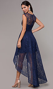 Image of high-low lace scoop-neck prom dress. Style: LP-27502 Back Image