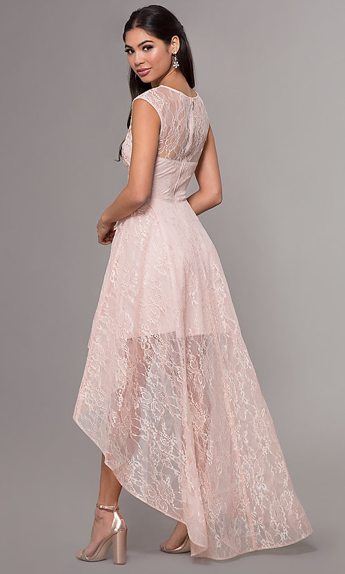 Image of high-low lace scoop-neck prom dress. Style: LP-27502 Detail Image 5