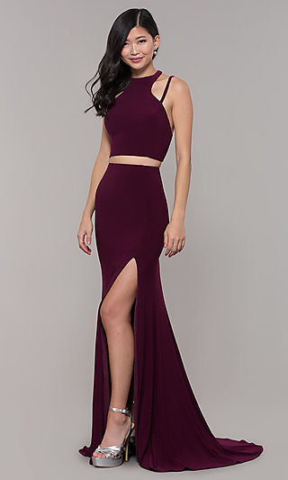 Long Two-Piece High-Neck Prom Dress