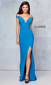 Image of long off-the-shoulder corset-tie prom dress.  Style: CLA-3772 Detail Image 6