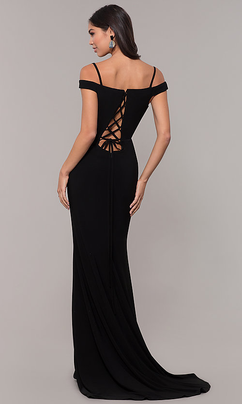 Image of long off-the-shoulder corset-tie prom dress.  Style: CLA-3772 Back Image