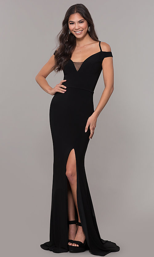 Image of long off-the-shoulder corset-tie prom dress.  Style: CLA-3772 Detail Image 3