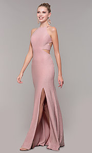 Image of high-neck long glitter prom dress with open corset. Style: CLA-3789 Front Image
