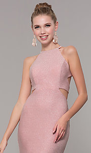 Image of high-neck long glitter prom dress with open corset. Style: CLA-3789 Detail Image 1