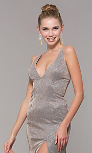 Image of v-neck long backless glitter prom dress with train. Style: CLA-3790 Detail Image 1