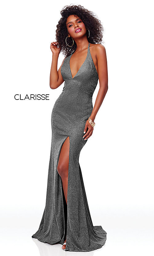 Image of v-neck long backless glitter prom dress with train. Style: CLA-3790 Detail Image 4