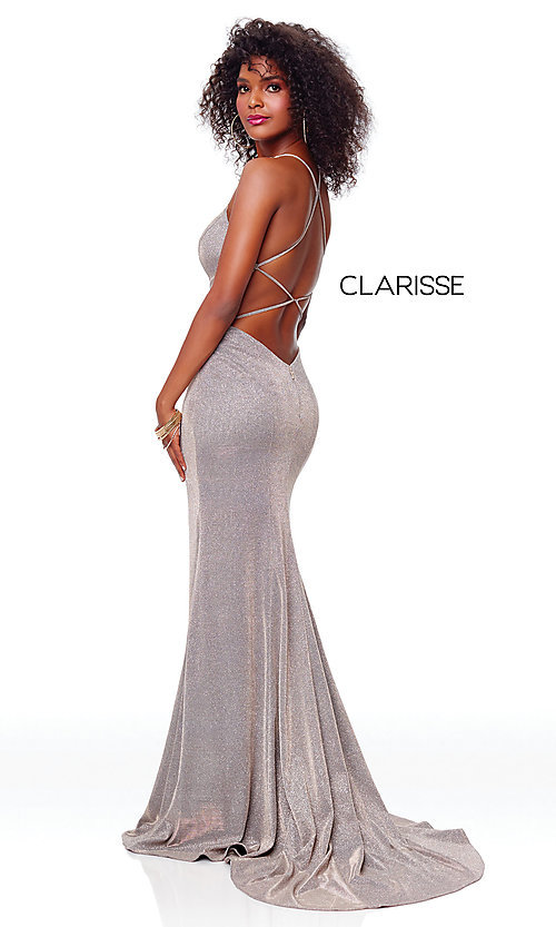 Image of v-neck long backless glitter prom dress with train. Style: CLA-3790 Detail Image 5