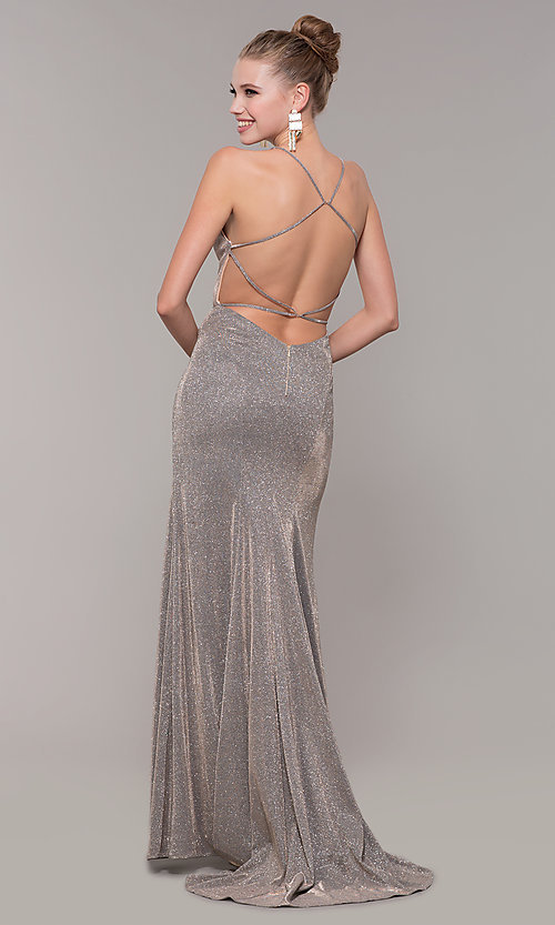 Image of v-neck long backless glitter prom dress with train. Style: CLA-3790 Back Image