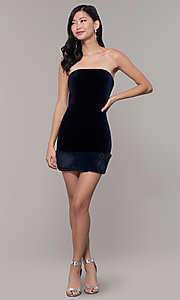 Image of short strapless navy blue velvet holiday dress. Style: AC-SD24684B Detail Image 3