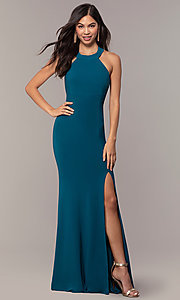 Image of empire-waist high-neck open-back long prom dress. Style: JU-10811 Front Image
