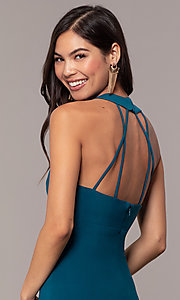 Image of empire-waist high-neck open-back long prom dress. Style: JU-10811 Detail Image 2