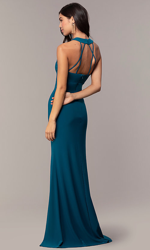 Image of empire-waist high-neck open-back long prom dress. Style: JU-10811 Back Image
