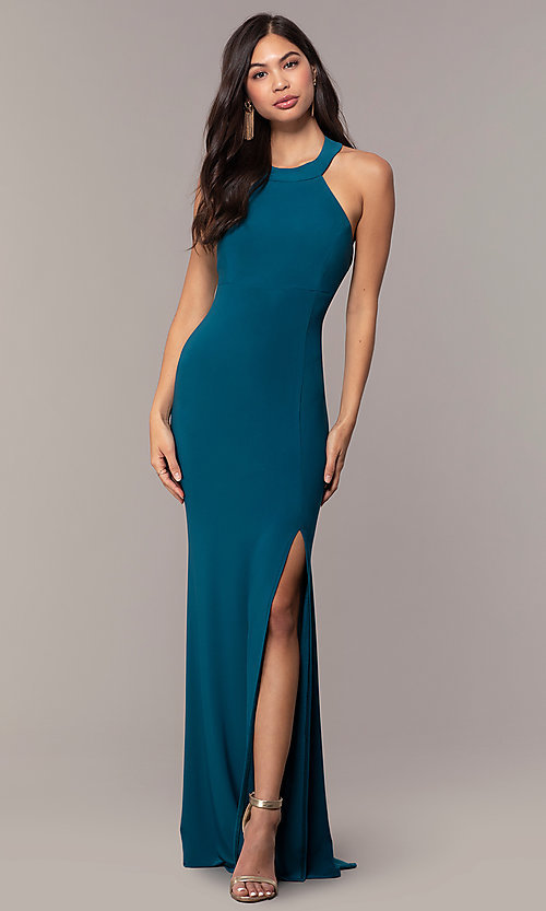 Image of empire-waist high-neck open-back long prom dress. Style: JU-10811 Detail Image 3