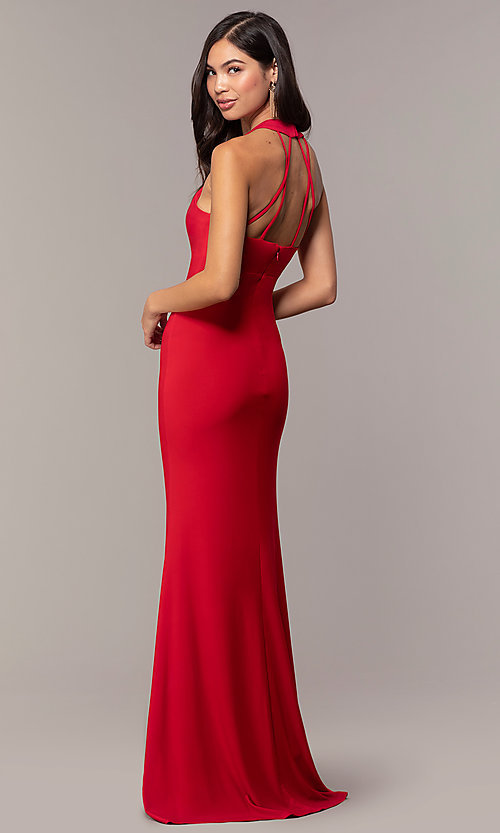 Image of empire-waist high-neck open-back long prom dress. Style: JU-10811 Detail Image 5