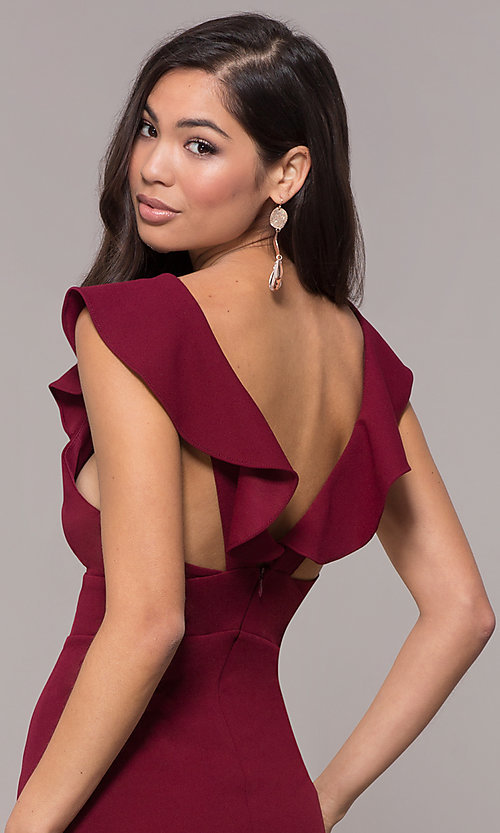 Image of ruffle-trimmed wine red v-neck prom dress. Style: JU-10982 Detail Image 2