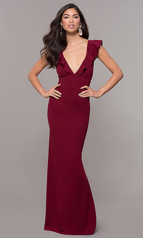 Image of ruffle-trimmed wine red v-neck prom dress. Style: JU-10982 Detail Image 3