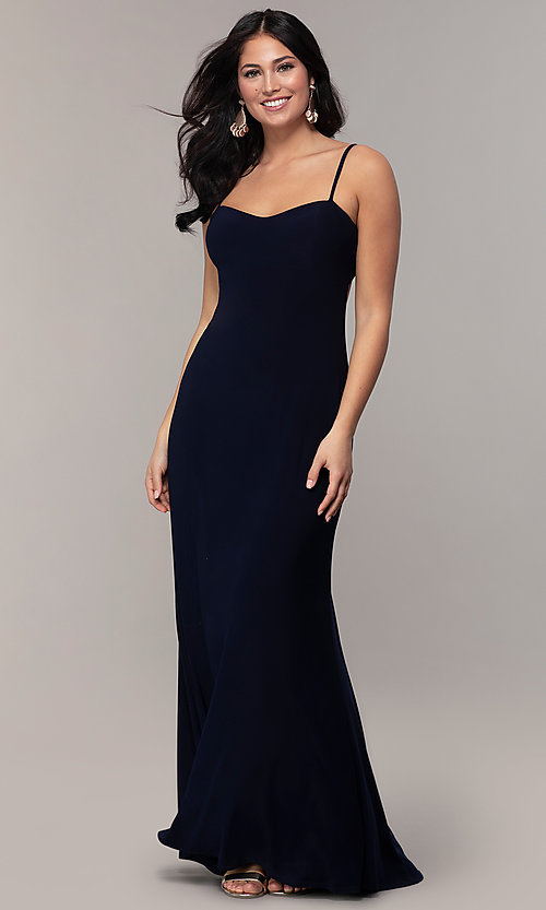 Image of long empire-waist sweetheart prom dress. Style: JU-11143 Front Image
