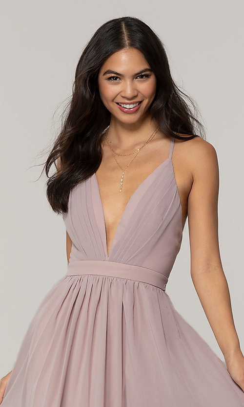 Image of low-v-neck long prom dress by PromGirl. Style: LP-PL-25332 Detail Image 1