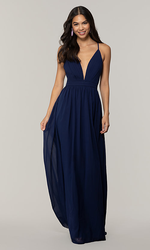Image of low-v-neck long prom dress by PromGirl. Style: LP-PL-25332 Detail Image 7