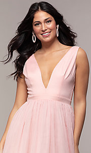Image of long deep-v-neck prom dress by PromGirl. Style: LP-PL-25781 Detail Image 1