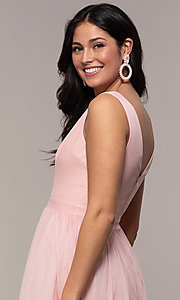 Image of long deep-v-neck prom dress by PromGirl. Style: LP-PL-25781 Detail Image 2