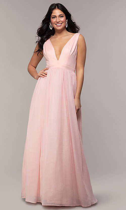 Image of long deep-v-neck prom dress by PromGirl. Style: LP-PL-25781 Front Image