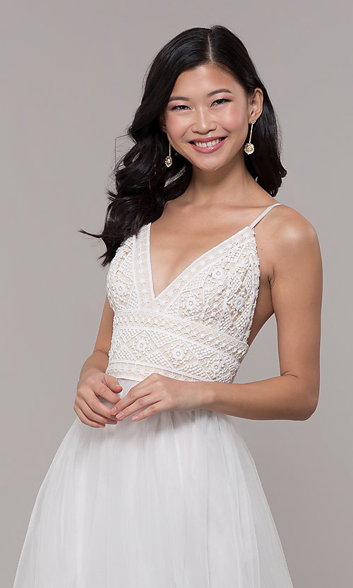 Image of long crocheted v-neck prom dress by PromGirl. Style: LP-PL-27892 Detail Image 6
