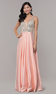 Image of sequin-bodice v-neck long prom dress by PromGirl. Style: LP-PL-25772 Detail Image 3
