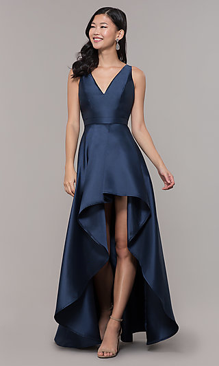 Satin V-Neck High-Low Prom Dress by PromGirl
