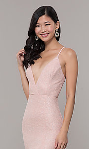 Image of fitted long glitter v-neck prom dress by PromGirl. Style: LP-PL-26116 Detail Image 1