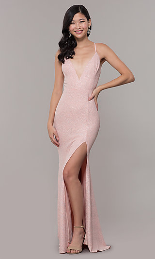 Fitted Long Glitter V-Neck Prom Dress by PromGirl