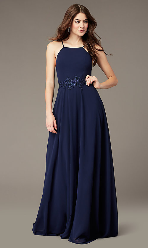 Image of long high-neck chiffon prom dress by PromGirl. Style: LP-PL-26115 Front Image