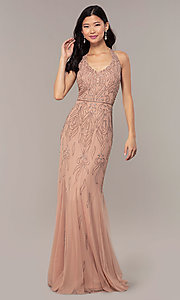 Image of rose gold pink long beaded formal prom dress. Style: HOW-APPBM-40165 Front Image