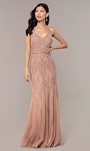 Image of rose gold pink long beaded formal prom dress. Style: HOW-APPBM-40165 Detail Image 3