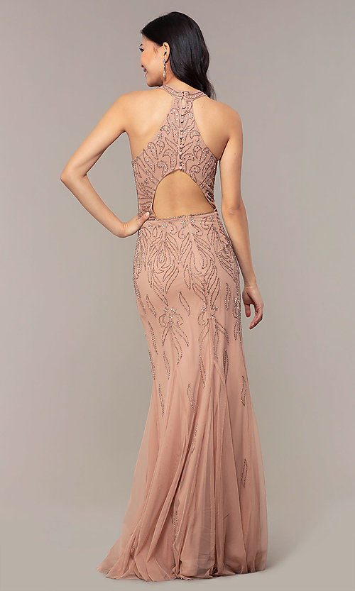 Image of rose gold pink long beaded formal prom dress. Style: HOW-APPBM-40165 Back Image