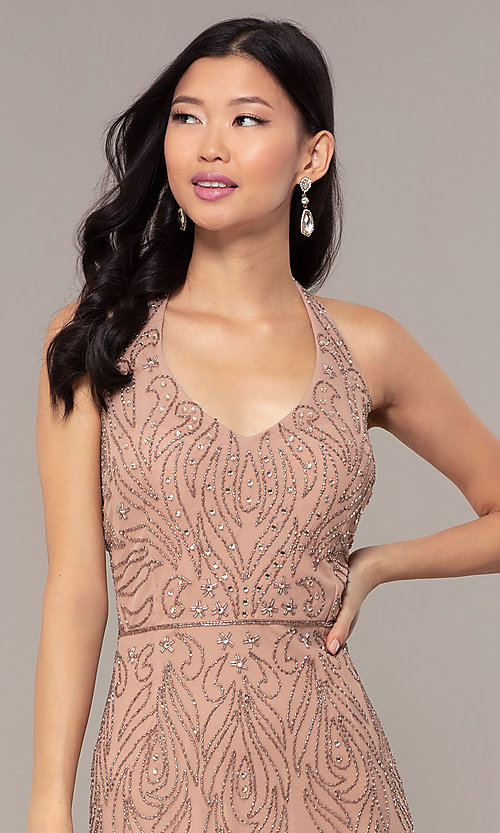 Image of rose gold pink long beaded formal prom dress. Style: HOW-APPBM-40165 Detail Image 1