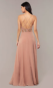 Image of beaded-bodice long rose gold chiffon prom dress. Style: HOW-APPBM-40179 Back Image