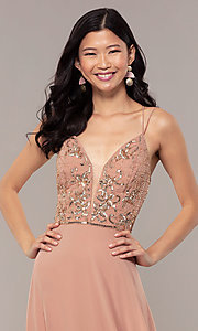 Image of beaded-bodice long rose gold chiffon prom dress. Style: HOW-APPBM-40179 Detail Image 1