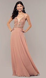 Image of beaded-bodice long rose gold chiffon prom dress. Style: HOW-APPBM-40179 Detail Image 3