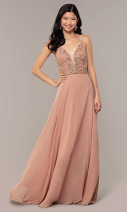 Image of beaded-bodice long rose gold chiffon prom dress. Style: HOW-APPBM-40179 Front Image