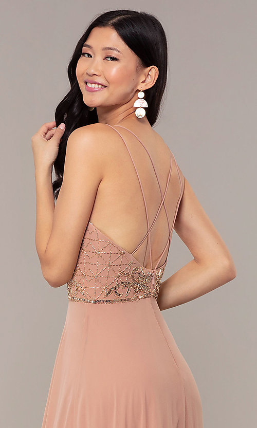 Image of beaded-bodice long rose gold chiffon prom dress. Style: HOW-APPBM-40179 Detail Image 2