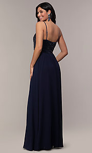 Image of long sequin-bodice chiffon prom dress by PromGirl. Style: LP-PL-26117 Detail Image 5