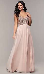 Image of long sequin-bodice chiffon prom dress by PromGirl. Style: LP-PL-26117 Front Image