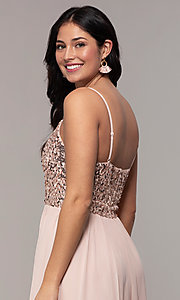 Image of long sequin-bodice chiffon prom dress by PromGirl. Style: LP-PL-26117 Detail Image 2