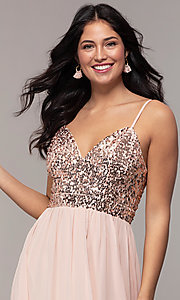 Image of long sequin-bodice chiffon prom dress by PromGirl. Style: LP-PL-26117 Detail Image 1