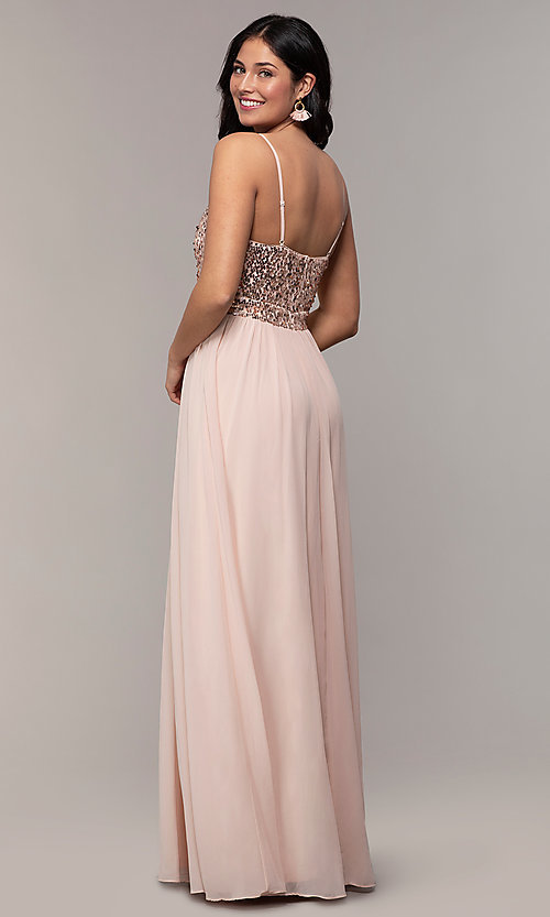 Image of long sequin-bodice chiffon prom dress by PromGirl. Style: LP-PL-26117 Back Image