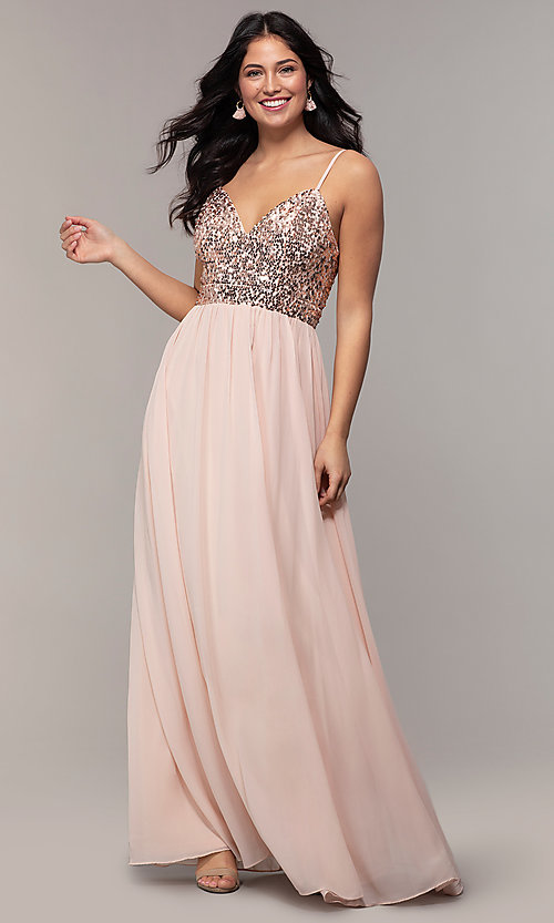 Image of long sequin-bodice chiffon prom dress by PromGirl. Style: LP-PL-26117 Detail Image 3