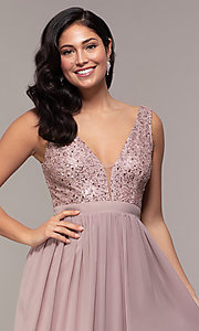 Image of long sequin-lace-bodice prom dress by PromGirl. Style: LP-PL-24017-1 Detail Image 1